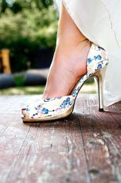 32 Floral Wedding Shoes Ideas For Spring And Summer Nuptials: peep toe floral heels are a great idea to wear something blue Vestido Shabby Chic, Bodas Shabby Chic, Blue Shabby Chic, Blue Bridal Shoes, Blue Shoes, Blue Pumps, Chic Wedding, Floral Wedding, Wedding Ideas
