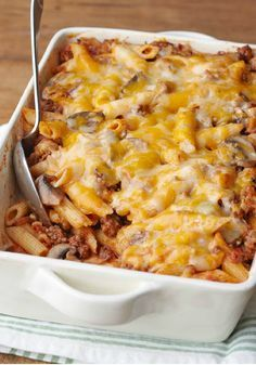 Cheesy Pasta Bake – Cheesy with cheddar and full of mushrooms, bacon, and spaghetti sauce, this  bake is pasta at its most delicious.