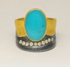 ATELIER ZOBEL Ring, 925/Silver, 22K Yellow Gold, Chrysocolla Cabochon 6.89ct, and Champagne Coloured Diamonds VSI 0.10ct