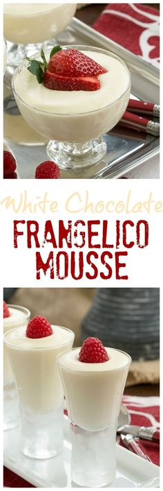 Dreamy White Chocolate Mousse spiked with Frangelico @lizzydo