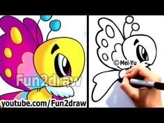 How to Draw Cartoons Easy - Learn to Draw a Cartoon Butterfly Step by Step - art lessons Drawing Cartoon Characters, Character Drawing, Cartoon Drawings, Cartoon Illustrations, Simple Cartoon, Cartoon Kids, Doodle Drawings, Easy Drawings, Disney Princess Cartoons