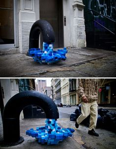 Passersby photographed this fun sculptural installation on Mercer Street in New York City in January 2011, which features 'pixelated' water made of little blue and white boxes pouring out of a giant spigot. Deemed 'Pixel Pour 2.0′, the sculpture is thought to be the work of (or at least inspired by) artist Kelly Goeller, who created the similar 'Pixel Pour' in 2008.