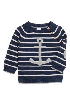 Knitted cotton jumper: Fine-knit cotton jumper with raglan sleeves, buttons at the front of one shoulder and elbow patches in a contrasting colour.