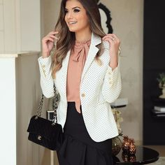 Ideas For Moda Femenina Blusas Casual Blazer Outfits, Fall Outfits, Casual Outfits, Fashion Outfits, Womens Fashion, Fiesta Outfit, Professional Outfits, Office Outfits, Blouse Styles
