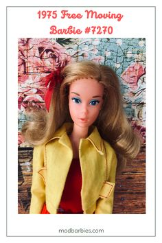 When you pull a mechanism on Free Moving Barbie's upper back, she moves - her waist twists and her arms swing her golf club and tennis racket. She wears a white knit playsuit with a red ribbed waist inset and a matching red ribbon in her hair. Her long red skirt has white flowers with navy centers. There's also #7281 Free Moving P.J., #7283 Free Moving Cara, #7282 Free Moving Curtis and #7280 Free Moving Ken. Free Move, Red Skirts, Red Ribbon, Vintage Barbie, Pretty Hairstyles, Playsuit, Her Hair, White Flowers, How To Wear