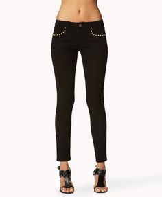 F21  Spiked Skinny Jeans