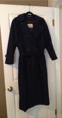 Navy Blue London Fog Trench Coat Removable Liner Womens 6 Reg Ankle Length