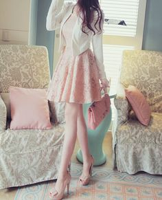too short- but like the concept of the light pink dress and white leather jacket