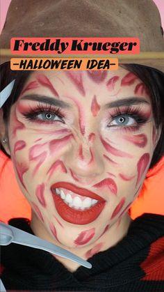 Cute Halloween Makeup, Fall Halloween, Halloween Party, Halloween Costumes, Kiss Makeup, Glam Makeup, Freddie Kruger Makeup, Red Eyeshadow, Freddy Krueger