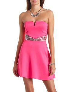 Jeweled-Waist Strapless Skater Dress: Charlotte Russe