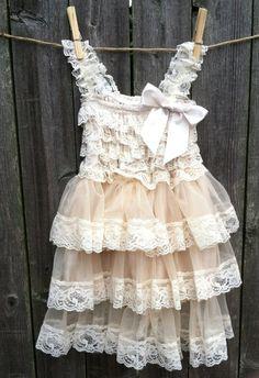 Rustic Flower Girl Dress -Lace Pettidress/Rustic Flower Girl/Country Flower Girl Dress Cream/Wheat Cream/Country Wedding-Vintage Weddin