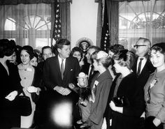 10 February 1961 Description: President John F. Kennedy meets with Queen of Mardi Gras and her court, Oval Office, White House, Washington, D.C.