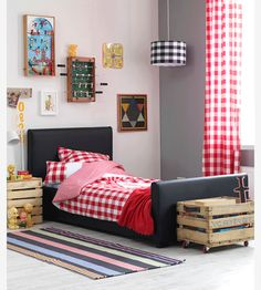 Some ideas for sons room - like the crates on wheels and vintage style games on wall Ikea Kids Bedroom, Kids Bedroom Designs, Girls Bedroom, Bedroom Decor, Kids Room Lighting, Big Boy Bedrooms, Cool Kids Rooms, Toddler Rooms, Luxury Decor