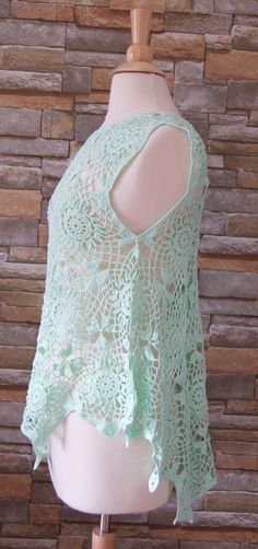 Verano crochet top/blusa de algodón