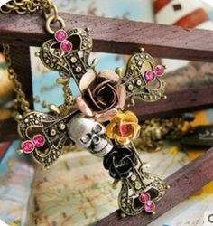 2017 Hot Promotion Maxi Necklace Collier European And American Vintage Jewelry Rose Skull Pendants Long Necklace For Women #Affiliate
