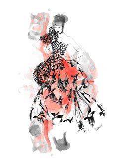 Illustration.Files: Alexander McQueen F/W 2009 Fashion Illustrations by Diana Kuksa