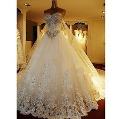 A-line Petite Wedding Dress - White Cathedral Train Sweetheart Tulle Coupon code: 2017code  10% discount on any order from Chicdresses.co.uk