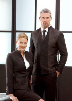 Really like the collar of the jackets Waiter Uniform, Spa Uniform, Hotel Uniform, Uniform Ideas, Corporate Uniforms, Staff Uniforms, Work Uniforms, Restaurant Uniforms, Work Trousers