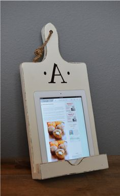 Wood iPad Stand Cutting Board Style by RchristopherDesigns on Etsy, $59.00
