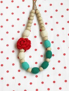 Nursing necklace Christmas gift Red green white necklace with flower Winter baby shower gift for mother to be Ombre crochet jewelry - pinned by pin4etsy.com
