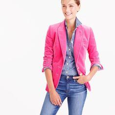 J.Crew Pre-order Velvet blazer ($178) ❤ liked on Polyvore featuring outerwear, jackets, blazers, tailored blazer, j crew jacket, white jacket, button jacket and button blazer