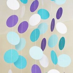 Blue Aqua Purple Frozen Theme Circle Dots Paper Garland Banner 10 FT Decor