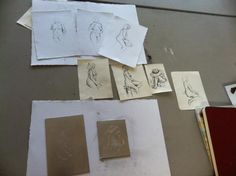 After two sessions drawing from the model work begins on aluminum plates.