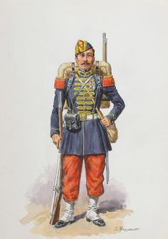 FRANCE - Imperial Guard, Voltigeur, 1870 by Lucien rousselot Military Art, Military History, Military Uniforms, French Armed Forces, French Empire, French Army, Second Empire, World War One, Napoleonic Wars