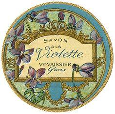 Savon à la Violette vintage perfume label Vintage Diy, Pub Vintage, Poster Vintage, Vintage Prints, Vintage Packaging, Vintage Labels, Vintage Ephemera, Vintage Cards, Pretty Packaging