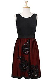 Sequined tulle and knit dress