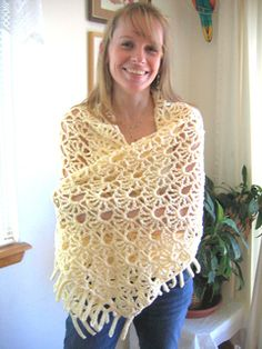 Free pattern - An experiment in trying a new lace pattern on a larger scale that was a total surprise when completed! It's worked from center back outward to accommodate the directional stitch pattern. Unique & bold look, accented with chain fringe at each end. An intermediate-level project that only looks complex!