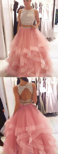Sequin Beaded Prom Dress,Organza Ruffles Prom Dresses,Sexy Prom Dress,Long Prom Dress, Two Piece Elegant Formal Dress A Line Prom Dresses, Cheap Prom Dresses, Quinceanera Dresses, Dresses For Teens, Trendy Dresses, Homecoming Dresses, Fashion Dresses, Long Dresses, Prom Dress Two Piece