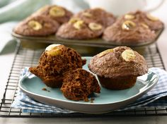 All-Bran™ Cocoa Banana Bran Muffins Recipe - You'll be smitten with these muffins filled with one of the very best flavour pairings – bananas and chocolate. #AllBran #Recipe #Fibre #Cocoa #Banana #Chocolate