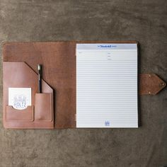 Personalized Leather Portfolio Padfolio - The Vanderbilt - Made in USA. This beautiful Fine Leather Journal can be personalized with name or initials. It is made in Huntsville, Alabama with the Finest of Full Grain American Leather. Holds a standard Notepad
