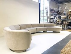 For Sale on - The classic sofa designs of Vladimir Kagan boast smooth, sensuous lines with an unparalleled flair. We were ecstatic when we got our hands on this Modern Grey Sofa, Modern Sectional, Sectional Sofa, Modern Living, Leather Modular Sofa, Round Sofa, Curved Sofa, Classic Sofa, Vintage Sofa
