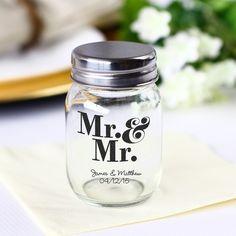 Wedding Favors » 20 Unique and Cheap Wedding Favor Ideas Under $2 » Printed Mini Mason Jars
