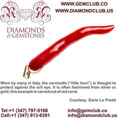 """Worn by many in Italy, the cornicello (""""little horn"""") is thought to protect against the evil eye. It is often fashioned from silver or gold; this example is carved out of red coral.  #DiamondClub & #GemClub #Appraiser #Appraisal #Diamond #Gemstones #Jewelry #Watch #Antiques #Pearl #Ruby #Sapphire #Emerald #Gold #Silver #Platinum #Palladium #Luxury #Earrings #Ring #Bracelet #Pendant #Necklace #Brooch #Wedding #Anniversary #Valentine"""