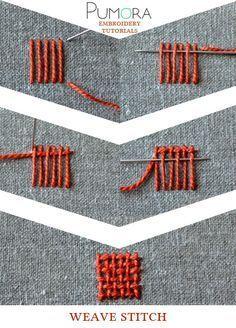 Pumora's embroidery stitch-lexicon: the weave stitch