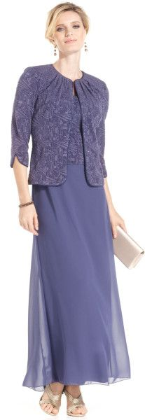 Alex Evenings Petite Sleeveless Glitter Gown And Jacket in Purple (Wedgewood)