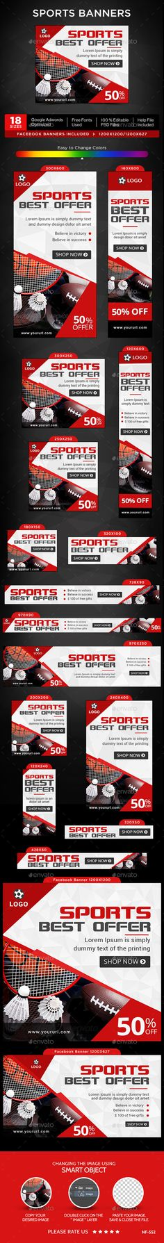 by Hyov on GraphicRiver. Promote your Products and services related to Sports niche with this great looking Banner Set. Banner Template, Web Banner, Sports Banners, Psd Templates, Banner Design, Fonts, Ads, Designer Fonts, Types Of Font Styles