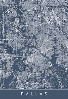DALLAS CITY MAP Art Print Line Art City by EncoreDesignStudios