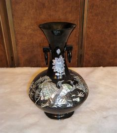 Asian Black Lacquer Abalone Shell Inlay Crane Birds Design Pedestal Vase #Unbranded #AsianOriental