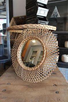 Mobilier industriel - Rattan mirror 1960