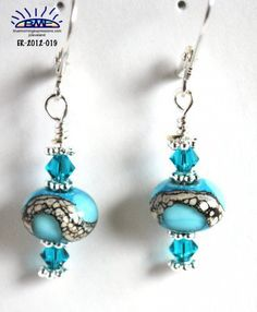 Handmade Earrings, Aqua Blue Lampwork Glass Bead, Teal Swarovski Crystals@bluemorningexpressions - Jewelry on ArtFire