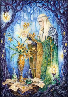 Thranduil and his sweet little hobby. By candragloomblade on tumblr and deviantart