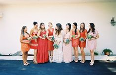 A Backyard Handmade Wedding in San Diego: Nicki + JP Different Bridesmaid Dresses, Bridesmaid Dresses Under 100, Mismatched Bridesmaid Dresses, Bridesmaids And Groomsmen, Wedding Dresses, Coral Bridesmaids, Casual Bridesmaid, Bridesmaid Ideas, Relaxed Wedding