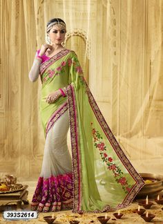 Buy Glamorous Green Colored Georgette Designer Saree Get 30% Off + 10% Extra Off on Designer Sarees From Leemboodi Fashion with Free Shipping in INDIA Now Available on Cash On Delivery