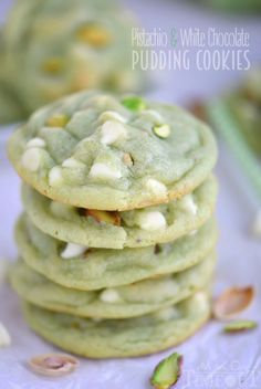 The prettiest green cookies EVER! Super soft and chewy, these Pistachio and White Chocolate Pudding Cookies are perfect for Easter and St. Patrick's Day! No one can eat just one! | MomOnTiimeout.com