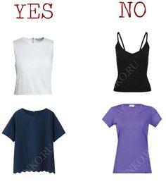 овременные базовые топы/футболки. Слева – подходят, справа – не подходят