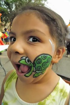 Talking Turtle painted by Wina Shelley of Party Picassos Face Painting; 312.316.7819